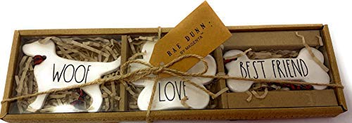 Rae Dunn Christmas WOOF Love Best Friend Ornaments