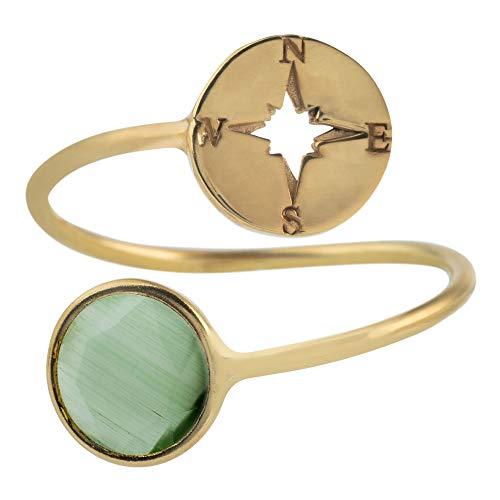 Córdoba Jewels | Anillos en Plata de Ley 925 bañada en Oro con diseño Rosa de los Vientos Dolce Jade Gold