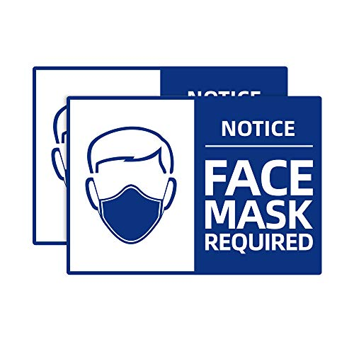 2 Pack Face Mask Required Sign Sticker, 7'x10' Please Wear Face Cover Marker, Safety Notice Decal Poster, Weatherproof Vinyl Entry Reminder Label for Wall Door Window Glass Signage