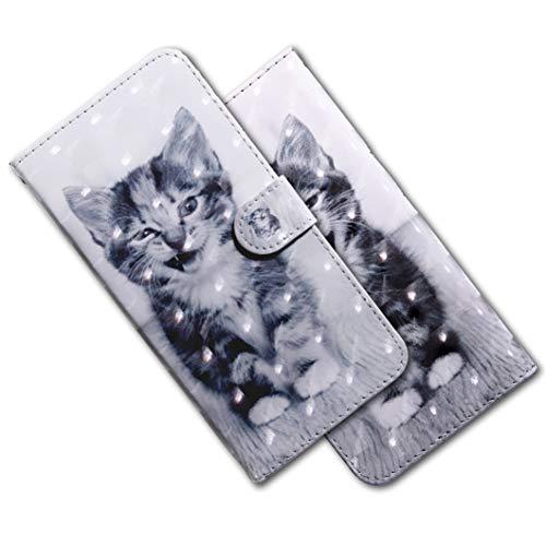 MRSTER LG Q60 Handytasche, Leder Schutzhülle Brieftasche Hülle Flip Hülle 3D Muster Cover mit Kartenfach Magnet Tasche Handyhüllen für LG K50 / LG Q60. BX 3D - Smiley Cat