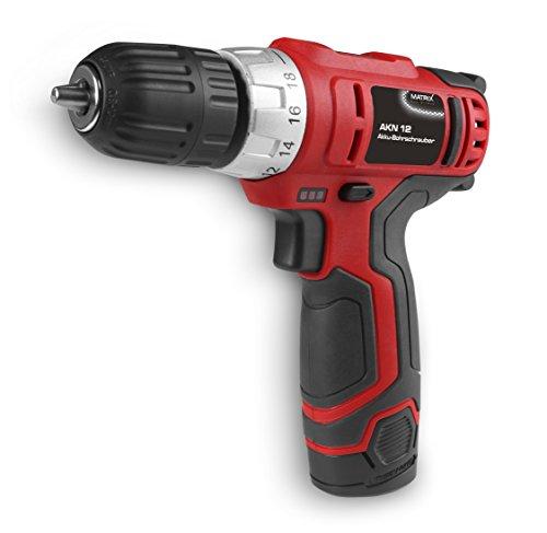 Matrix 120310060 AK 12 Handschrauber klein, 1,3Ah, Drehmoment einstellbar, 10mm Bohrfutter, Lithium Ionen Batterie, 12 V, rot, 15cm