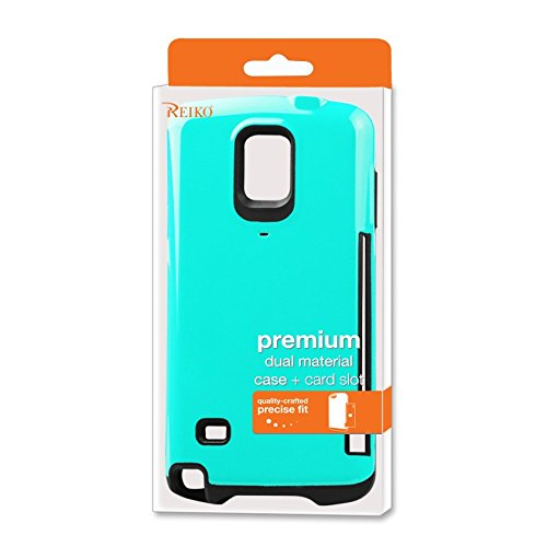 Reiko Dual Color TPU/PC Cover with Side Card Holder for Samsung Galaxy Note 4 N910V, N910P, N910T, N910R4 - Retail Packaging - Blue