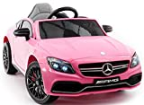 2021 Mercedes Benz Kids Ride On Car 12V Licensed Electric Cars Motorized Vehicles for Girls, Remote Control, Leather Seat, Music, Lights - Pink (2 to 5 Years)