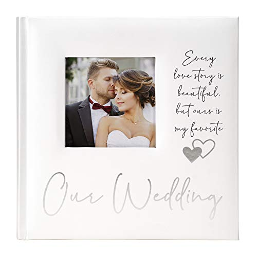 Malden International Designs 2 Up 4x6 Photo Album With Memo Writing Area Our Wedding Printed Paper Cover Book Bound White