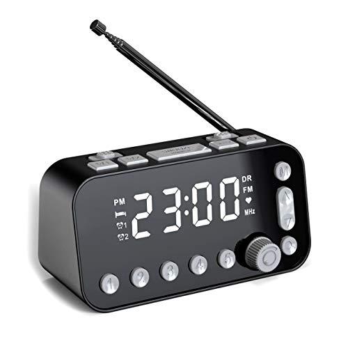 SVNA Reloj Despertador Digital Dab Radio Reloj Despertador FM, Puerto de Carga USB Doble Pantalla LCD Retroiluminación Volumen de Alarma Ajustable Reloj Despertador