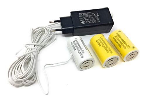CBK-MS. Batterie Netz Adapter 3X Baby LR14 Batterien Typ C 4,5V Batterieersatz für Weihnachtsbeleuchtung Lichterketten Deko-Artikel LED Kerzen
