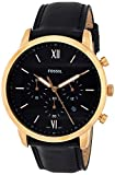 Fossil Men's Neutra Chrono Quartz Leather Chronograph Watch, Color: Rose Gold, Black (Model: FS5381)