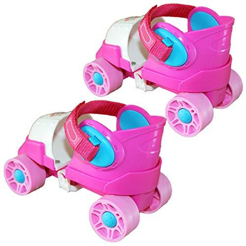 ZCRFY Inline-Skates Kinder Rollschuhe Schlittschuhe Zweireihig 4-Rad-Gleitschuhe Einstellbare Größe Skating Anfänger Kids Für 2-8 Jahre Altes Baby-Geburtstagsgeschenk,Pink-Set1-(20-34) Code