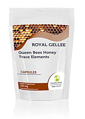 Bumble Bee Honey Fresh Royal Jelly Gellee 150mg 30/60/90/120/180 Capsules Health Food Supplements Queen Bees Vitamins Minerals Amino Acids Trace Elements Honey Bee Milk (120)