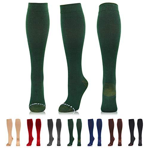 Newzill Kompressionsstrümpfe aus Baumwolle (15-20 mmHg) für Damen und Herren, Unisex-Erwachsene, dunkelgrün, L/XL (US Women 9-13 / US Men 9-12)
