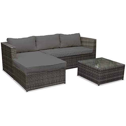 Marko Outdoor Rattan Garden Corner Sofa Table Chair Furniture Set Grey Patio Outdoor Seating