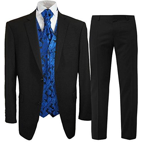 Paul Malone Anzug Hochzeitsanzug Set 7tlg schwarz + Hochzeitswesten Set blau Paisley + Hochzeitshemd weiß