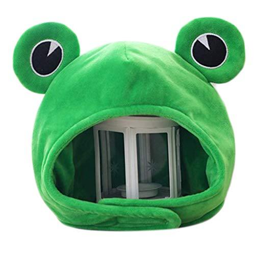 JIACUO Divertido Gran Rana Ojos Dibujos Animados Felpa Sombrero Juguete Verde Sombrero Cosplay Disfraz
