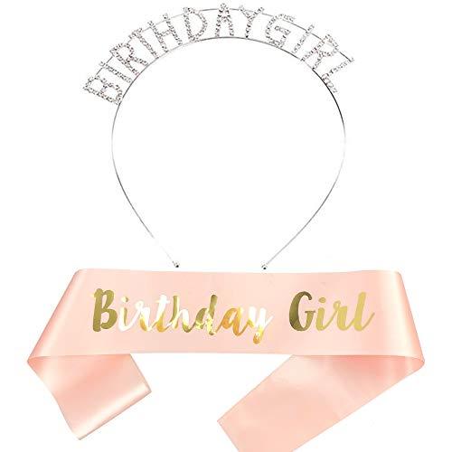 REYOK Rose Gold Birthday Girl Geburtstag Schärpe Krone Haarreif Tiara Stirnband für Geburtstag mädchen Party Deko Accessoires Geschenk