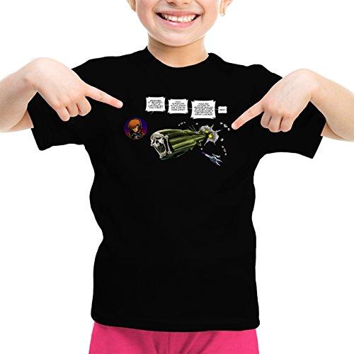 Okiwoki T-Shirt Enfant Fille Noir Albator parodique L'Arcadia : Zone de Turbulences ! (Parodie Albator)
