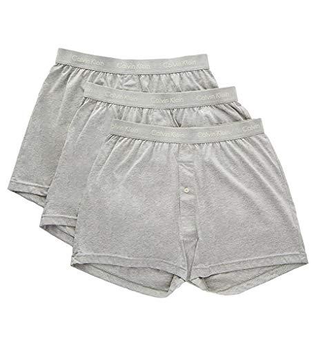 Calvin Klein Men's Cotton Classics 3 Pack Knit Boxers, Heather Grey/Heather Grey/Heather Grey, Medium