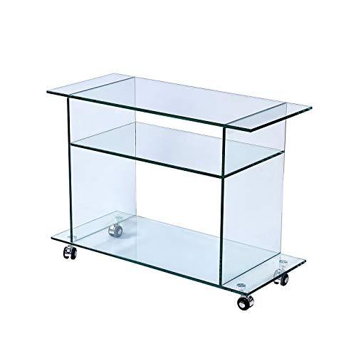 Consolle Tavolino Salotto Soggiorno Sala Da Pranzo Ingresso Tavolo In Vetro Temperato Con Ruote E Ripiani Design Moderno Elegante - Luxury Z-99 Dimensioni 80 x 35 x 60 cm