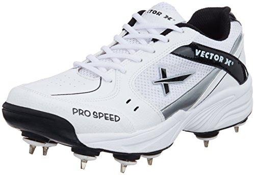 Vector X Pro Speed Full Spike Cricket Shoes, Men's UK 8 (White/Black/Silver)