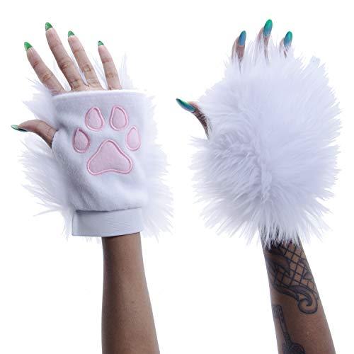 Pawstar Classic Pawlets Fingerless Glove Paws Furry Cat Fox Cosplay - White CLA