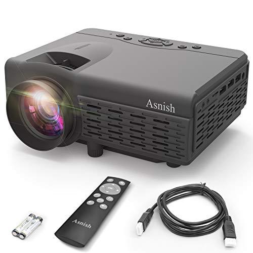 Asnish Beamer,Mini Beamer,Portable Bluetooth-Heimprojektor,Unterstützt 1080P Full HD , 50000 Stunden LED-Projektor, kompatibel mit HDMI/USB/AV, TF/DCIN/PS5/VGA
