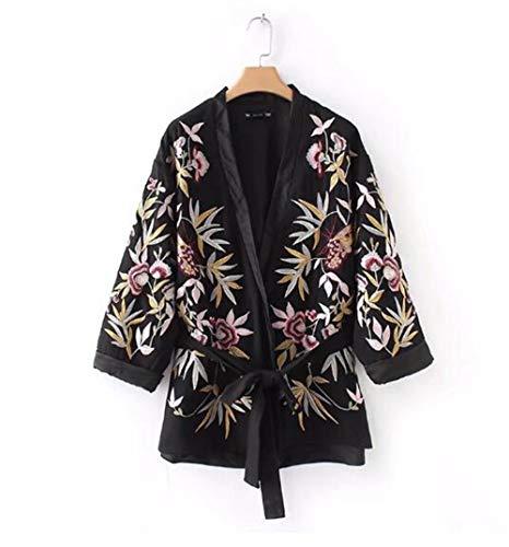 WJMM Damen Blazer Mit Stickerei Blume Schärpen Jacke Gürtel Frauen V-Ausschnitt Patchwork Langarm Schärpen Mantel Schwarz Oberbekleidung, Schwarz M