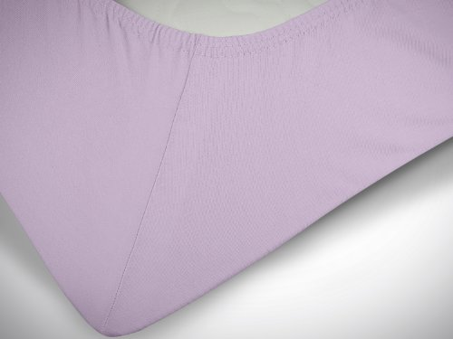 npluseins klassisches Jersey Spannbetttuch – erhältlich in 34 modernen Farben und 6 verschiedenen Größen – 100% Baumwolle, 70 x 140 cm, flieder - 6