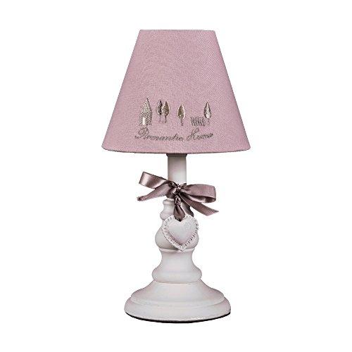 Tischlampe ROMANTIC HOME rosa weiß im Landhausstil mit Schleife und Herz E14