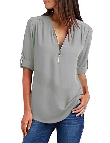 Yidarton Damen Blusen Chiffon Langarm Tunika mit Reißverschluss Vorne V-Ausschnitt Oberteile T-Shirt (Kaki-Grün,XXL)