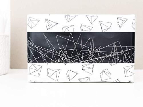 Geschenkpapier Low Poly beidseitig in schwarz weiß Größe A2-3 Bögen geometrisches Einpackpapier zweiseitig Weihnachten Geburtstag Winter
