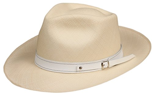 1' Leather Panama Hat Band (White) Replacement Decorative Strap for Fedora, Felt Panama or Straw Hats