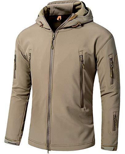 TACVASEN アウトドア タクティカル ソフト シェル ジャケット 保温や防水や防風など多機能のアノラック スキーと山登りの迷彩服 カーキ M