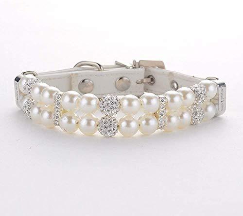 MOTTDAM Collar de piel con perlas y diamantes de imitación para mascotas, joyería de perro Chihuahua, collar de perro bling collar de perro joyería de cristal decoración de mascotas