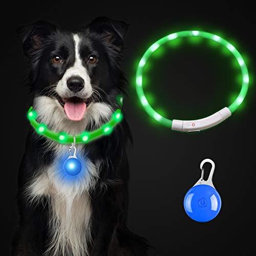Theirsova Leuchthalsband Hund Aufladbar, LED Hundehalsband Leuchtend USB wiederaufladbar Längenverstellbarer, Haustier Sicherheit Kragen für Hunde und Katzen Halsband - 3 Modus