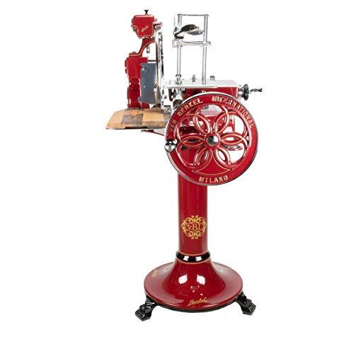 exklusive Berkel Volano B 114 | rot | manuelle Aufschnittmaschine mit blütenverziertem Schwungrad | + Standfuß/Sockel | passgenaues Schneidebrett | sofort lieferbar