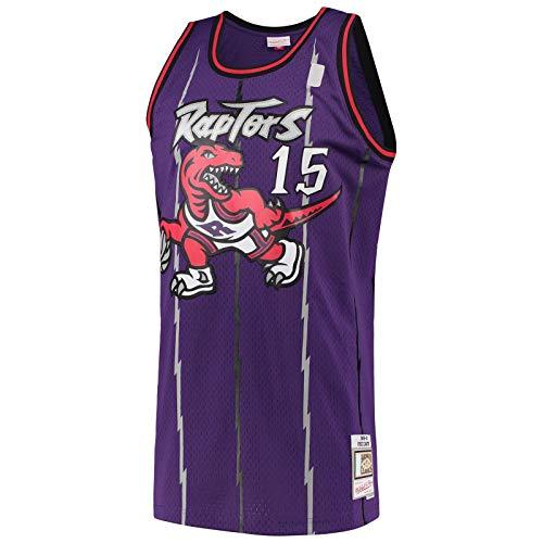 BFDEZ Toronto Custom Carter Camiseta de baloncesto Vince Raptors Manga corta, color morado -#15 Hardwood Classics Swingman Jersey Icon Edition-XL