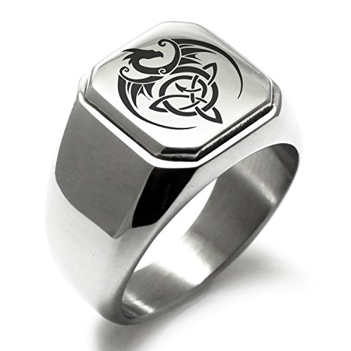 Stainless Steel Celtic Dragon Triquetra Symbol Square Flat Top Biker Style Polished Ring, Size 14