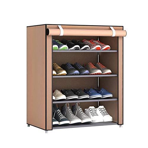 Zapatero Estante casero ajustable de múltiples capas del zapato del dormitorio del gabinete portátil del zapato, tela no tejida a prueba de polvo Zapateros independientes ( Color : Brown , Size : M )