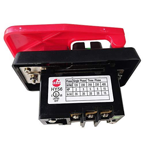 Interruptores industriales con tapa de parada de emergencia para sierra de banco KEDU HY56 rojo (380 Vol)