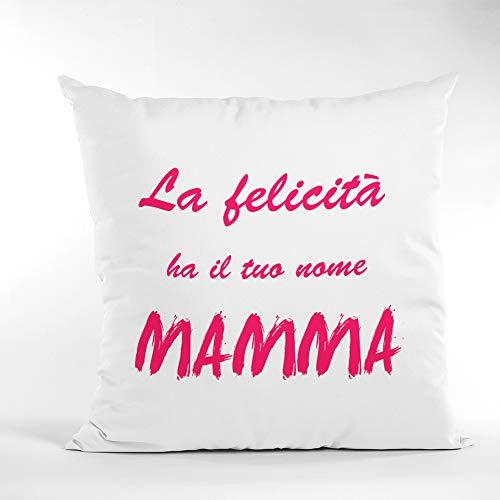 love print Día de la Madre - Cojín cuadrado de 40 x 40 cm con la frase «La felicidad»