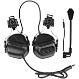 ATAIRSOFT Tactical Headset war Unlimited Power intercom with Microphone Waterproof Headphones, no Noise Reduction Function (BK)