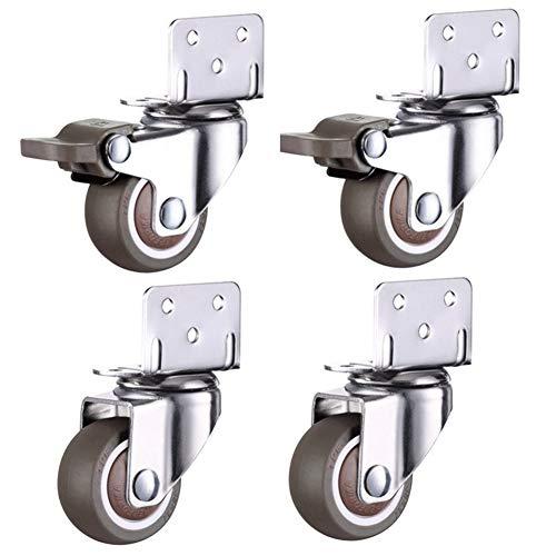 Preisvergleich Produktbild WenJ L-förmige Stopprollen Wälzlager TPE Universal-Spin Caster for Möbel Büro Computer Case Zubehör Möbel Und Verschiedene Kleine Karren 4pcs (Color : 2 Brake 2 no Brake,  Size : 1 inch)