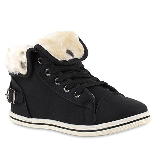 stiefelparadies Warm Gefütterte Sneakers Damen Sneaker High Kunstfell Winter Gesteppte Winter Sport Schnürer Übergrößen Schuhe 110034 Schwarz 37 Flandell