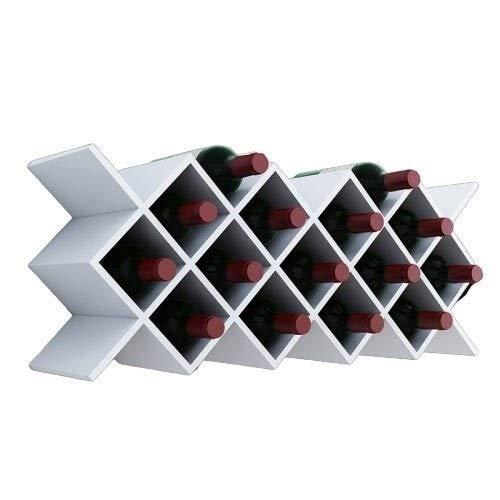 Estante de vino libre de pie hasta 18 botellas de almacenamiento de vino con estante de madera para bar hogar cocina H1029 (color: blanco, tamaño: 71,3 x 29,3 x 20 cm)