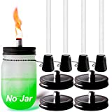 Mason Jar Tabletop Torch Kits,4 Pack Fiberglass Wicks,Wick Tubes,Black Mason Jar Lids,Outfire Caps with Chain Included,for Outdoor Deck Oil Lamp Table Torch