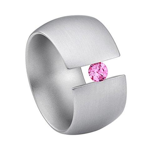 Heideman Ring Damen Elegantia gewölbt aus Edelstahl Silber farbend matt Damenring für Frauen mit Swarovski Stein Zirkonia pink im Brillant Schliff 4mm