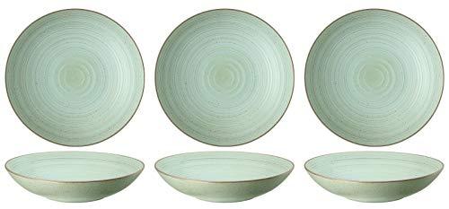 Thomas Nature - Suppenteller 23 cm - Pastateller Tiefer Teller Geschirr Steinzeug Teller - (Leaf (Blattgrün), 6 Stück)
