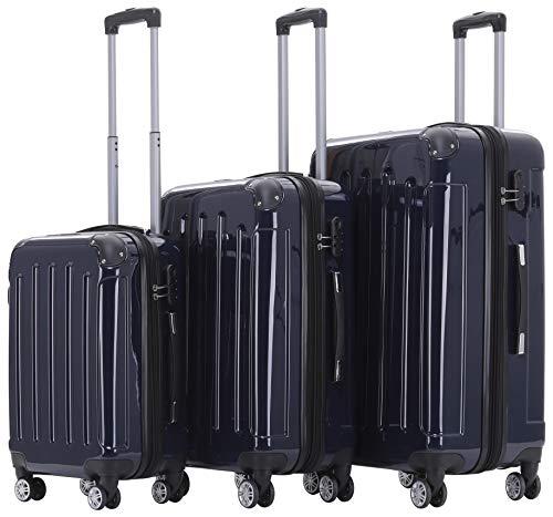 BEIBYE- 3er Kofferset Hartschalen-Koffer Reisekoffer Trolley Rollkoffer Set Reisekofferset (Dunkelblau)