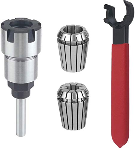 1/4 Inch Shank Router Bit Collet Extension Chuck Converter Adapter, Convert 1/2-Inch & 1/4-Inch Shank Bitswith ER20 Spring Collet, ER20 M Type Collet Chuck Wrench Spanner -(Pack of 4)