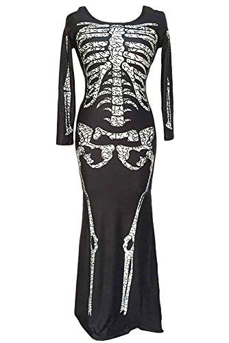 r-dessous Skelett Kleid lang Damen Kostüm schwarz Halloween Knochenkleid Tod Zombie Horror Karneval Fasching Groesse: S/M