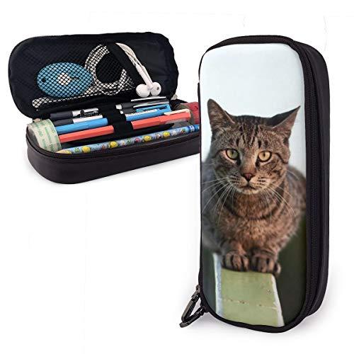 Estuche para lápices con diseño de gato en baranda, para niños y...